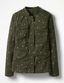 Khaki Carly Embroidered Jacket