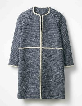 Navy Beatrice Textured Coat