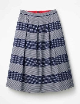 Navy, Spot Stripe Lola Skirt