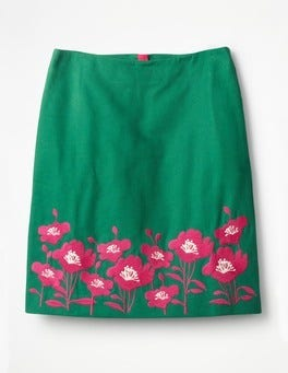 Sap Green Fun Embroidered Skirt