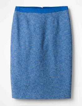 China Blue Textured Modern Pencil Skirt
