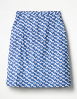 Lupine Blue, Parasol Printed Cotton A-line Skirt