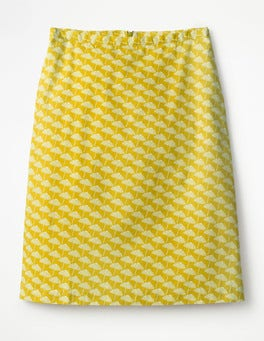 Mimosa Yellow, Parasol Printed Cotton A-line Skirt