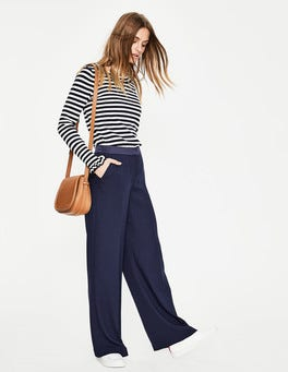 Navy Marlin Wide Leg Trousers