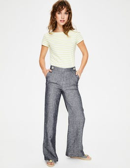 Navy Myra Wide Leg Linen Trousers
