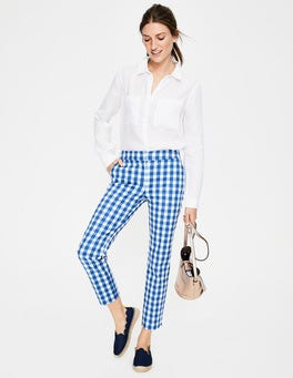 Riviera Blue Gingham Richmond Capri Trousers
