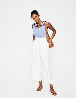 Ivory Paperbag Crop Trousers