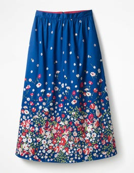 Blue Floral Placement Emelia Midi Skirt