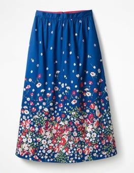 Imprimé bleu à fleurs Jupe midi Emelia