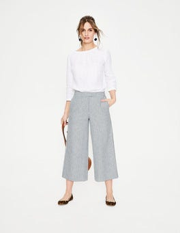 Chambray Blue/Ivory Stripe Wideleg Culottes