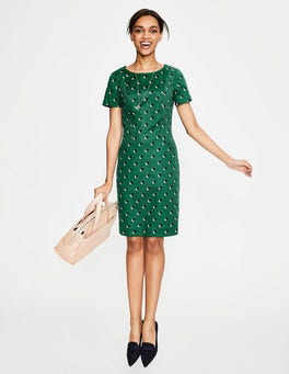 Sap Green Shadow Spot Angela Textured Dress