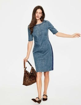Mid Vintage with Side Stripe Rhea Denim Dress