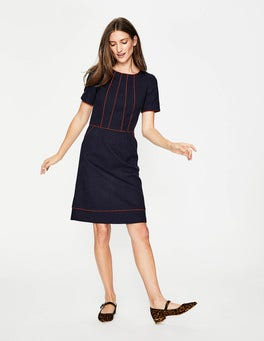 Navy Jane Textured Dress