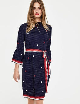 Navy Spot Border Armelle Dress