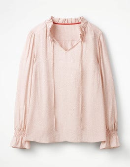 Pink Pearl Daisy Melissa Ruffle Neck Top