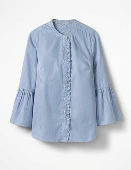 Blue and Ecru Stripe Bell Sleeve Shirt