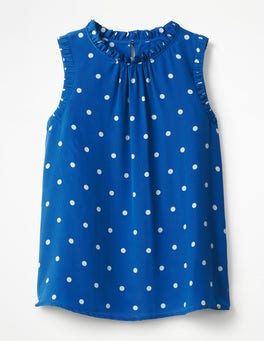 Opulent Blue, Spaced Mid Spot Effie Silk Top