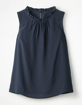 Navy Effie Silk Top