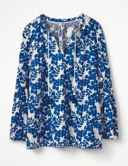 Klein Blue Leaves Mono Gauzy Tie-Neck Top