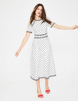 Ivory with French Navy Spot Kimberly Embroidered Dress