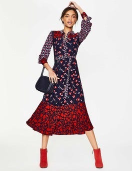 Navy Wildflower Sybil Shirt Dress