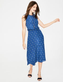Opulent Blue Spot Effie Silk Dress