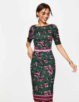 Hunter Green Tulip Fleur Fitted Dress