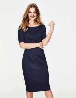 Navy Fleur Fitted Dress
