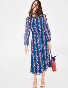 Opulent Blue Flowerbed Kathleen Midi Dress