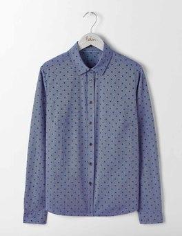 Blue Flocked Spot The Classic Shirt
