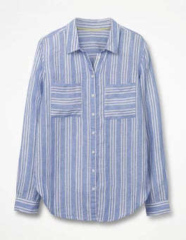 Soft Blue and Ecru Stripe The Linen Shirt