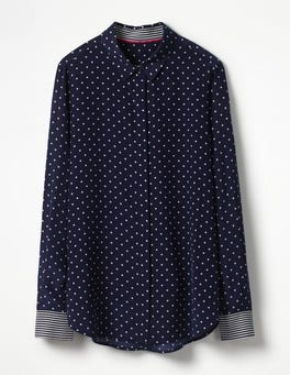 Navy, Spot Small Silk Shirt