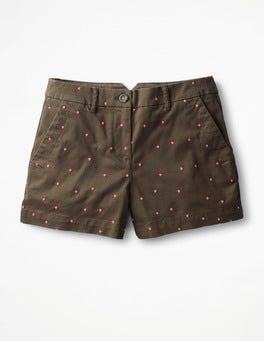 Khaki mit neonrosa Tupfen Rachel Chino-Shorts