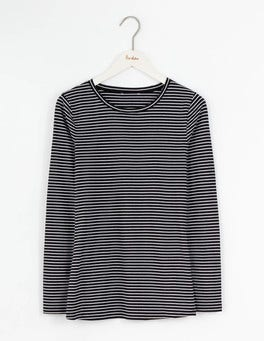 Black/Ivory 0.8cm Stripe Supersoft Crew Tee
