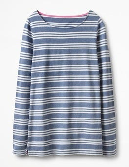 Whitewash Blue Multi Stripe Long Sleeve Breton