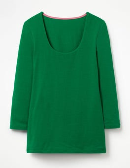 Sap Green Double Layer Front Tee
