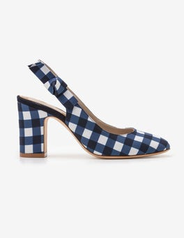 Navy Gingham Sena Slingbacks