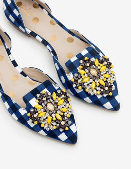Navy Gingham Leah Jewelled Flats