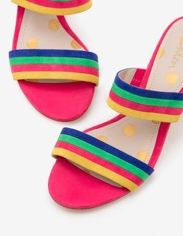 Carnival Pink Multi Stripe Orella Suede Mules