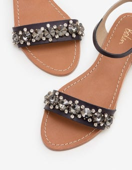 Navy Marian Jewelled Sandals
