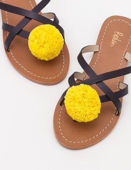 Navy Emma Pompom Sandals