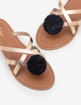 Rose Gold Metallic Emma Pompom Sandals