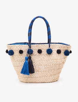 China Blue Pompom Beach Bag