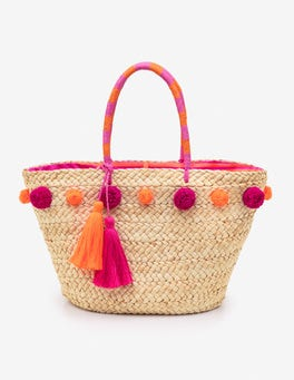 Party Pink Pompom Beach Bag
