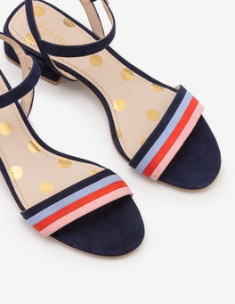 French Navy Multi Stripe Zoe Heeled Sandals