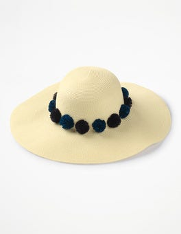 China Blue/Navy Pom Pompom Sun Hat