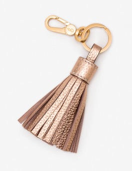 Rose Gold Leather Tassel Keyring