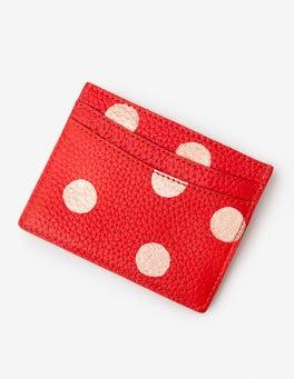 Red Pop/Rose Gold Spot Leather Card Holder