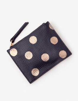 Navy/Rose Gold Spot Leather Coin Purse