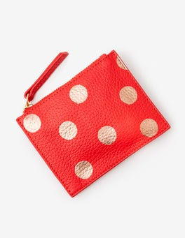 Red Pop/Rose Gold Spot Leather Coin Purse